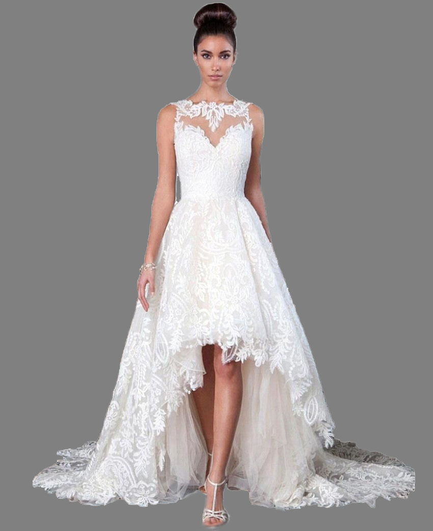 2019 Chapel Train Elegant Boat Neck High Low Long white / ivory Hi low Wedding Dress short front long back Bridal Gown Quality-in Wedding Dresses from Weddings & Events