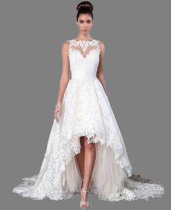 Image 1 - Vestido de novia largo Blanco/marfil con cuello de barco elegante, vestido de boda alto bajo, Parte delantera corta, vestido de novia con espalda de calidad, 2019