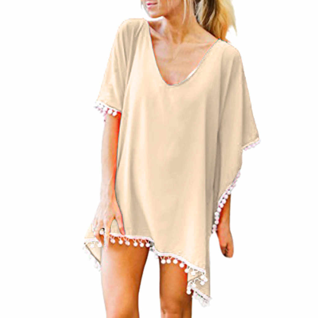 2019 новая пляжная блузка женская с помпонами отделка Кафтан шифон купальник с кистями пляж Свободные Бикини крышка