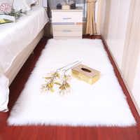 Rectangle Soft fluffy Faux Sheepskin Fur Area Rugs nordic red center living room carpet Bedroom Floor White Faux Fur Bedside Rug