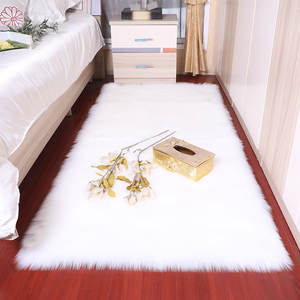 Rectangle Soft fluffy Faux Sheepskin Fur Area Rugs nordic red center living room carpet Bedroom Floor White Faux Fur Bedside Rug