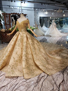 Image 3 - Bgw HT42826 ゴールデンレースウェディングドレスベール v ネッククリスタルタッセル王女の花嫁のドレス vestidos デ · ノビア