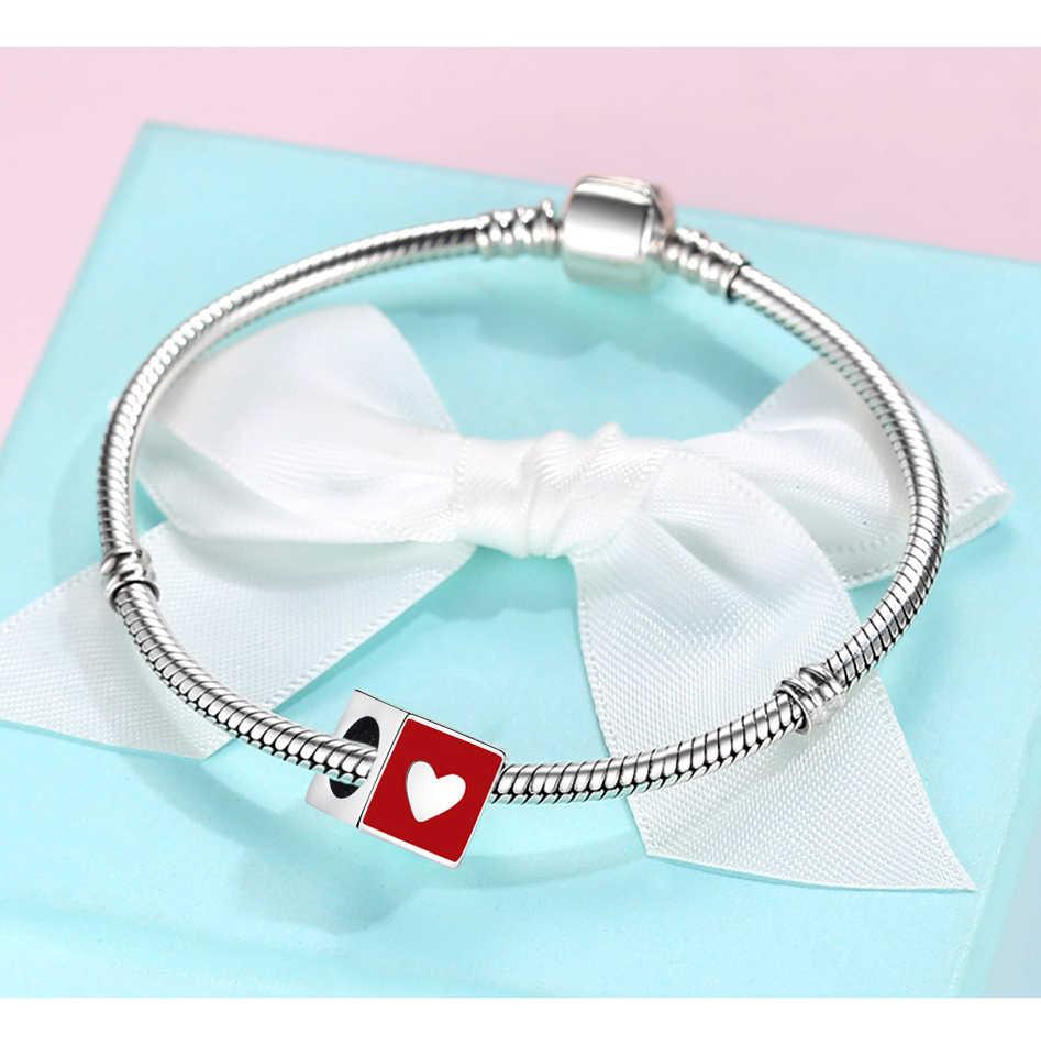Eleshe 925 prata esterlina charme grânulos romântico eu amo u quadrado contas caber charme original pulseira & pulseira de casamento jóias fazendo
