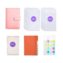 62 Pieces Budget Binder A6 PU Leather 6 Ring Binder with 10pcs Binder Envelope Zipper Pouches & Label Stickers & 45pcs A6 Paper