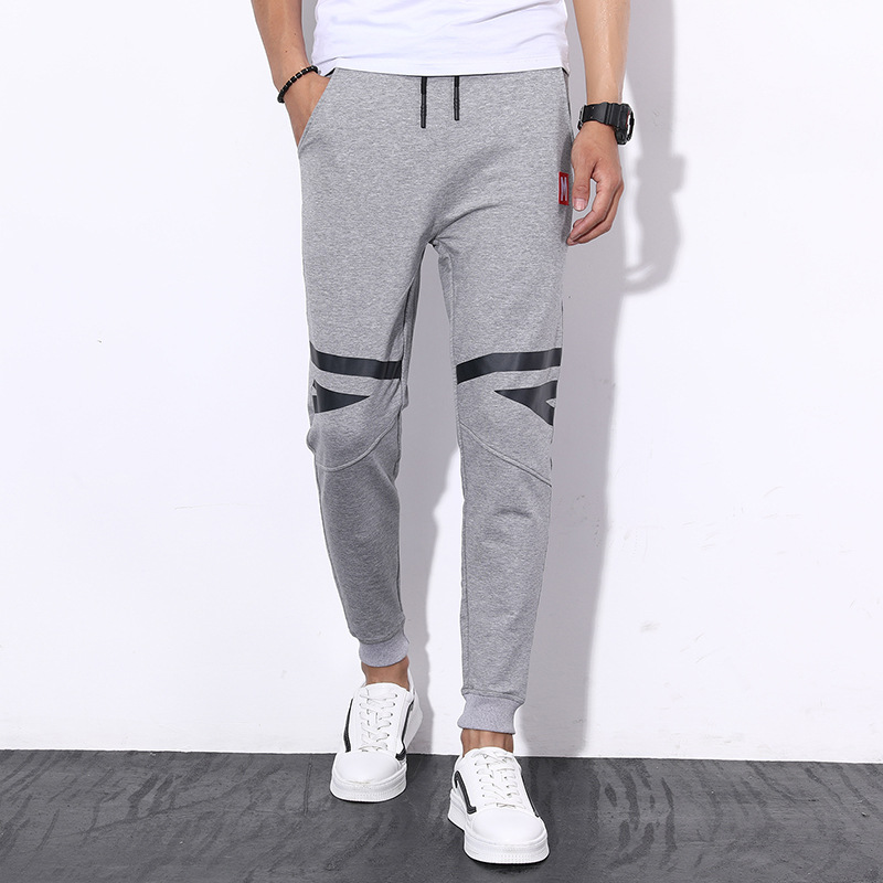 Men Casual Athletic Pants Korean-style Slim Fit Ankle Banded Pants Skinny Harem Pants Closing Trousers Men's Sweatpants-Boom Gen