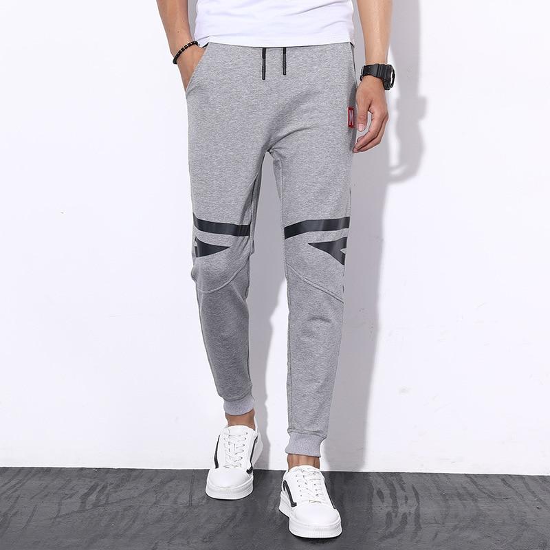 Men Casual Athletic Pants Korean-style Slim Fit Ankle Banded Pants Skinny Harem Pants Closing Trousers Men's Sweatpants-Boom Gen