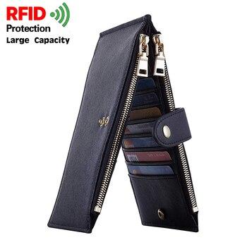 New Womens Card Holder Walllet RFID Blocking Bifold Multi Case Men Wallet with Zipper Pocket Crosshatch Cardholder Purse