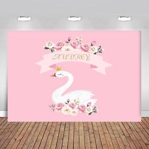 Image 1 - Birthday Photos Background Pink Flower Swan Backdrop Background for Photo Studio Photophone Photozone Background for Camera