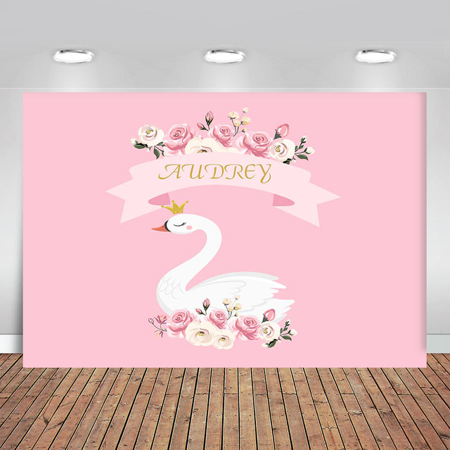 Birthday Photos Background Pink Flower Swan Backdrop Background for Photo Studio Photophone Photozone Background for Camera