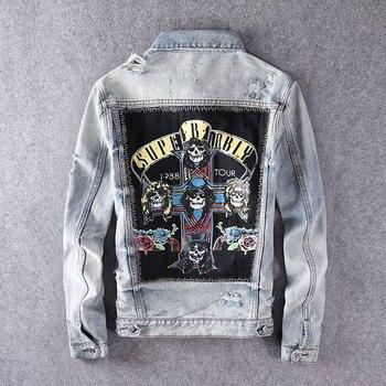 Moda Streetwear hombres chaquetas de alta calidad Retro Ligth parches azules diseñador Denim chaqueta hombres calaveras impresas chaquetas de hip hop