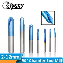 цена на XCAN 1pc 2-12mm 90 Degree Nano Blue Coated Chamfer End Mills CNC Machine Router Bit 2 Flutes End Milling Cutter Carbide End Mill