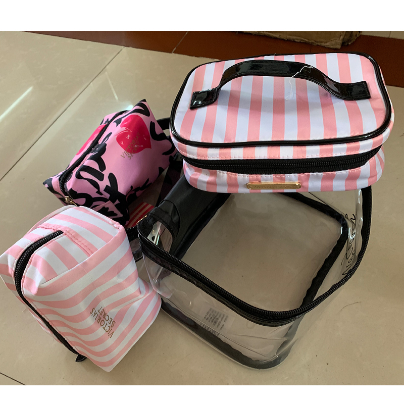 Clear Makeup Case 4 Pcs Transparent PVC Cosmetic Bag Women Pink Travel Toiletry Bag Organizer Beauty Makeup bags Free Shipping