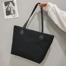 Fashion Lady Shoulder Bag Simple Reusable Canvas Bucket Large Capacity Shopping Casual Ladies Wild Handbag Solid Color