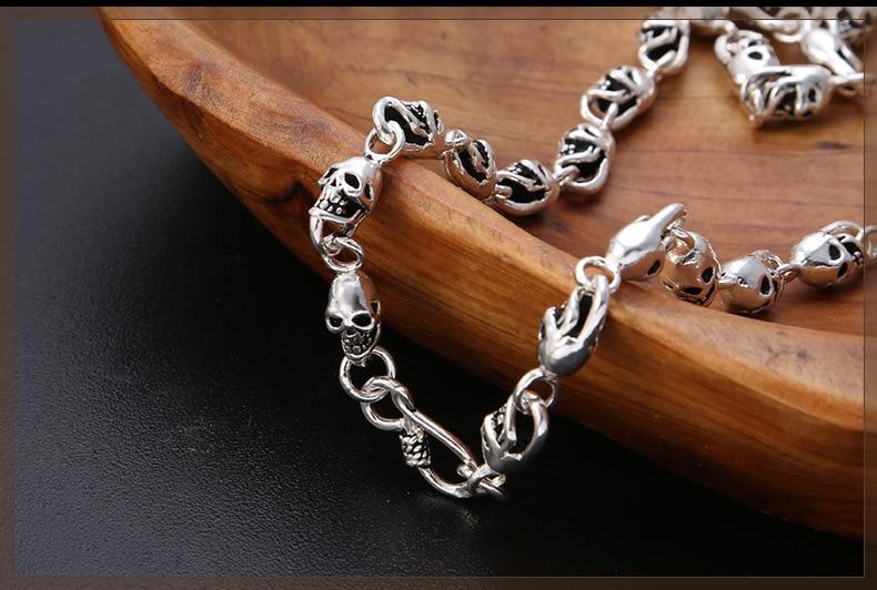 100% hecho a mano de plata 925 collar esqueleto calavera esterlina collar de hombre Hiphop PUNK collar joyería hombre regalo - 4