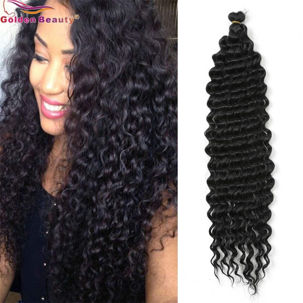 22inch Long Deep Wave Twist Crochet Hair Synthetic Braiding Hair Curl Wave Extensions For Black Women Golden Beauty