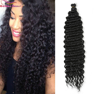 22inch Long Deep Wave Twist Crochet Hair Synthetic Braiding Hair Extensions For Black Women Golden Beauty(China)