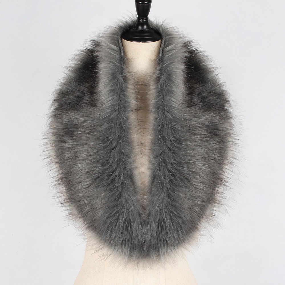 2019 Ladies Fur Neck Wraps Long Warm Scarf Real Large Shawls Luxury Women Faux Fur Collar Scarf Shawl Collar Wrap Scarves#n12