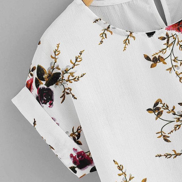 Summer Fashion Floral Print Blouse Pullover Ladies O-Neck Tee Tops Female Women's Short Sleeve Shirt Blusas Femininas Clothing 3