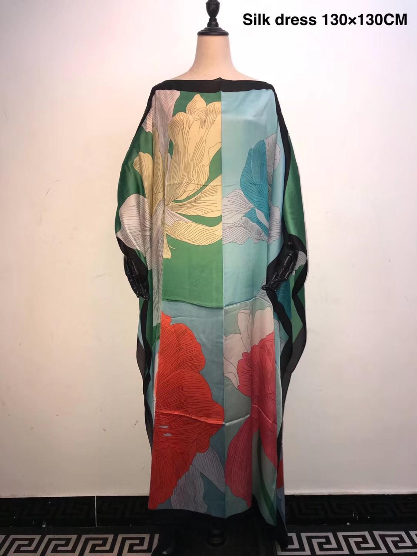 Plus Size European Printed Silk Kaftan Long dresses Dashiki Muslim Dress Abaya Robe Dresses African Dresses for women