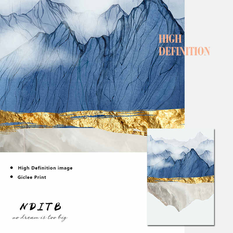 Modern Mountain Reflection Marble Abstract Wall Poster Landscape Canvas Print Painting Contemporary Art Home Decoration Picture