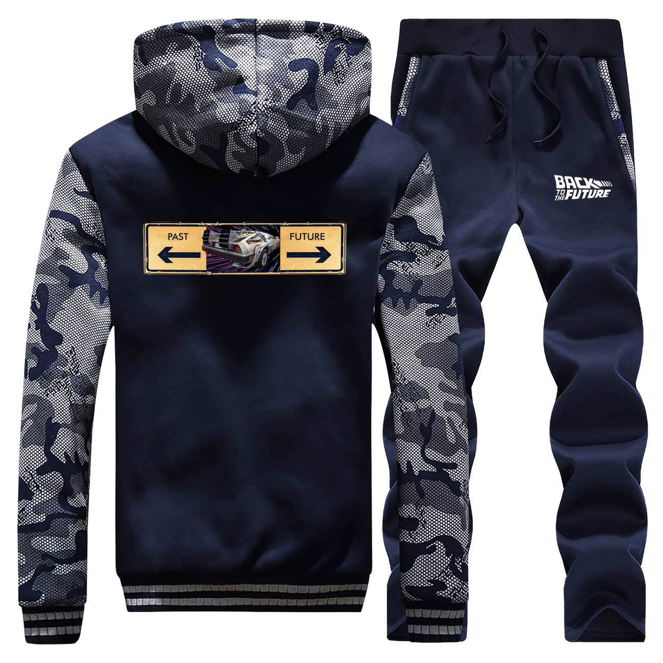 Back To The Future Men's Camo Sets Warm Thick  Jacket 2019 Winter Fleece Pants Sweatshirts Men Thicken Hoodies Men's Tracksuit