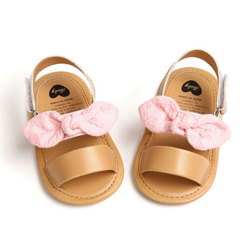 Fashion Newborn Infant Baby Girls Princess Shoes Bowknot Toddler Summer Sandals PU Non-slip Shoes 0-18M 4