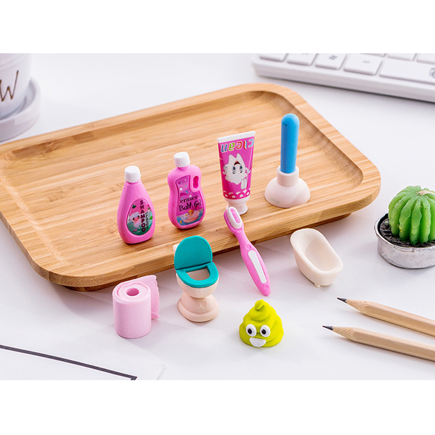 1set/lot Creative Play Bathroom Series Eraser Rubber Pencil Erasers Stationery Students Gifts