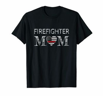 Firefighter Mom - Support The Flag T-Shirt Cotton O-Neck Short Sleeve Unisex T Shirt New Size S-3XL недорого