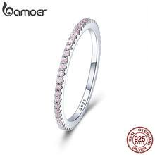 BAMOER-Anillo de boda de cristal rosa de plata de ley 925 para mujer, joya geométrica sencilla, joyería de plata de ley SCR066