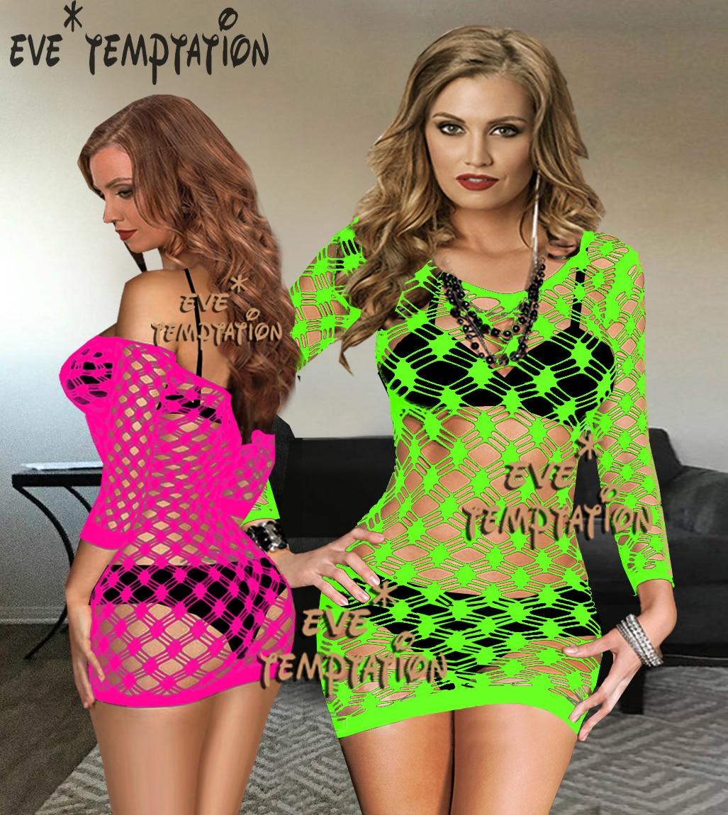 Sexy Crochet Fish Net Lingerie Babydoll Dress Underwear Costumes Sleepwear Chemises Costumes Nightgown Long Sleeve  W052