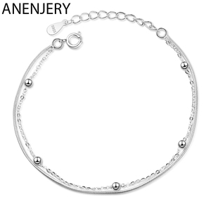 ANENJERY Simple Silver Color Double Layer Snake Chain Bead Chain Bracelet For Women Jewelry Gifts S-B366