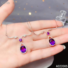 KJJEAXCMY Fine Jewelry 925 Sterling Silver inlaid gemstone Amethyst Female Pendant Necklace beautiful hot selling szjinao silver pendant for women real 925 sterling silver amethyst pendants necklace statement womens jewelry crystal gemstone