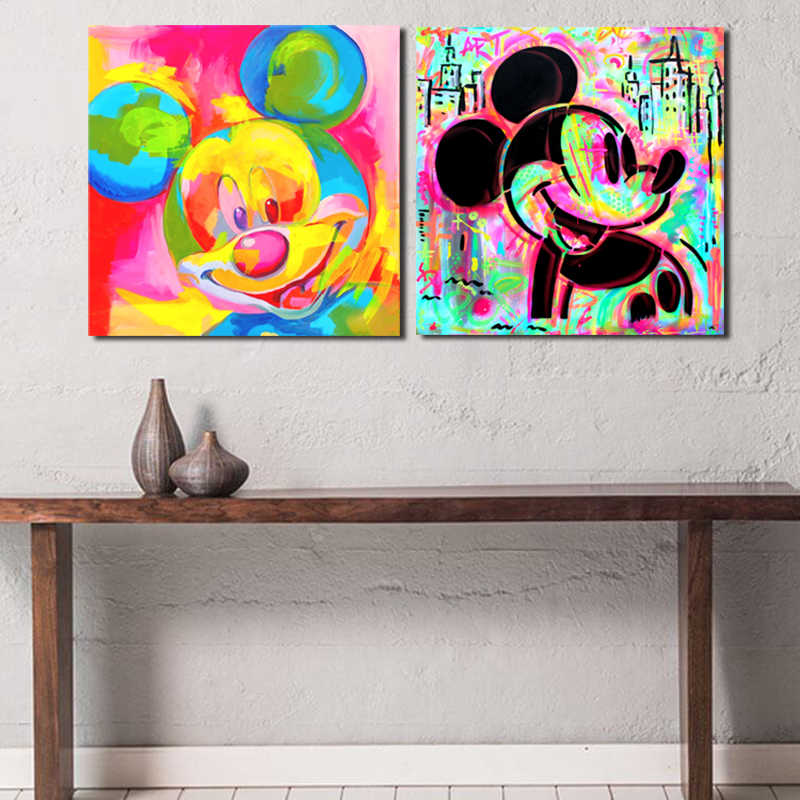 Canvas Schilderij Wall Art 1 Panel Mickey Mouse Aquarel Graffiti Home Decoratie Poster Bed Achtergrond Frame Modulaire Foto