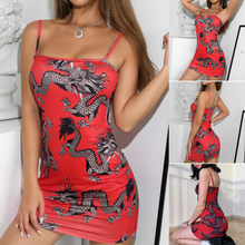 Fashion Vrouwen Dragon Print Spaghetti Bandje Korte Jurk Casual Sexy Bodycon Club Avondjurk Party Jurk Vestidos De Fiesta(China)