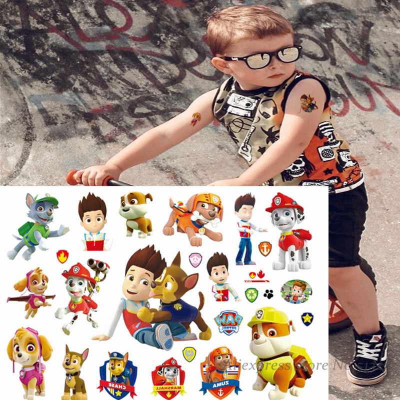 Paw Patrol Cute Dog Toys Cartoon Temporary Tattoo Sticker For Boys Children Toys Tatoo Paper Paste Waterproof Flash Kids Gift