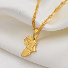 Anniyo(1,3 см) Мини кулон Карта Африки и ожерелье для женщин девушек золотого цвета ювелирные изделия маленькая карта африканская торговля#048604