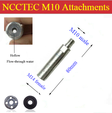 [Hollow Type] 80mm Extension Connection Rod Water Flow-through For Angle Grinder | 3.2'' M10-male M14-female Attachments