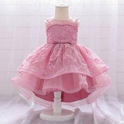 Infantil 1 Arrastando Vestido de Batismo Do Bebê Menina Um Ano De Aniversário Vestido de Princesa Bordado Flor Vestidos Da Menina Do Bebê Partido E Do Casamento