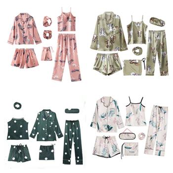 Utrzymujące ciepło 7 sztuk damska jedwabna satynowa piżama zestawy zestaw piżam bielizna nocna Pijama komplet piżamy kobiece zestaw snu Loungewear tanie i dobre opinie Lingering Warmth SILK Stałe Wykładany kołnierzyk Pełna długość CN (pochodzenie) Pełne Wiosna WOMEN Faux Slik 1SY-16