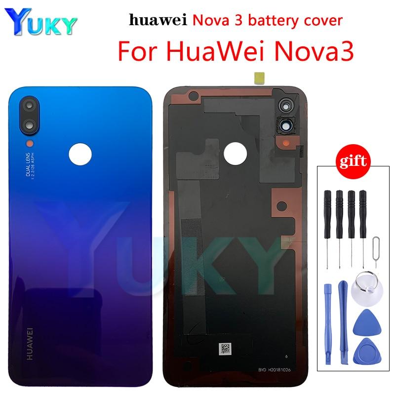 Оригинальная Стеклянная Крышка батарейного отсека для Huawei Nova 3, задняя панель, задняя крышка корпуса для Huawei Nova 3, Крышка батарейного отсека