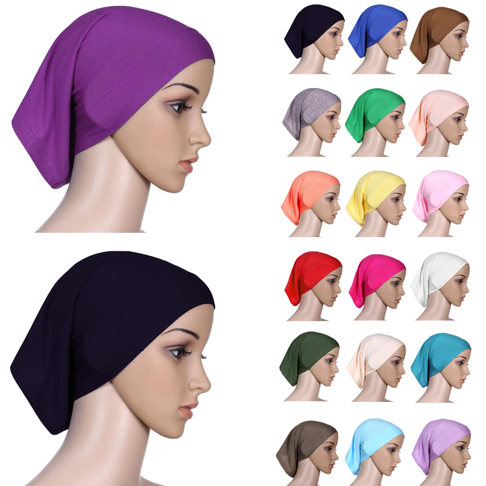Muslim Women Head Scarf Cotton Underscarf Stretch Hijab Cover Headwrap Underscarf Cap Shawl Islam Scarf Inner Headband Bonnet