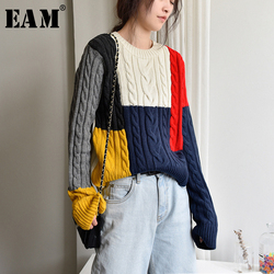 [EAM] Colorful Knitting Sweater Loose Fit Round Neck Long Sleeve Women Pullovers New Fashion Tide Autumn Winter 2021 1Y15609