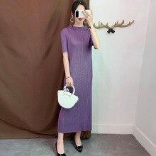 LANMREM Purple Stand up Collar Short sleeved Pleated Slim Plus Woman Bottom Dress Casual Simple Fashion 2020 autumn New TV734