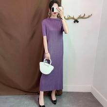 LANMREM vestido ajustado plisado de manga corta para mujer, Vestido corto informal sencillo a la moda para otoño, 2020