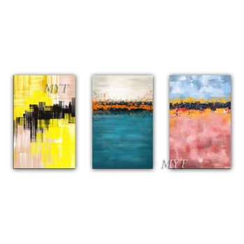 Free shipping cheap 100% Hand-painted modern home decor wall art picture 3PCS 1 set abstract oil painting on canvas unframe