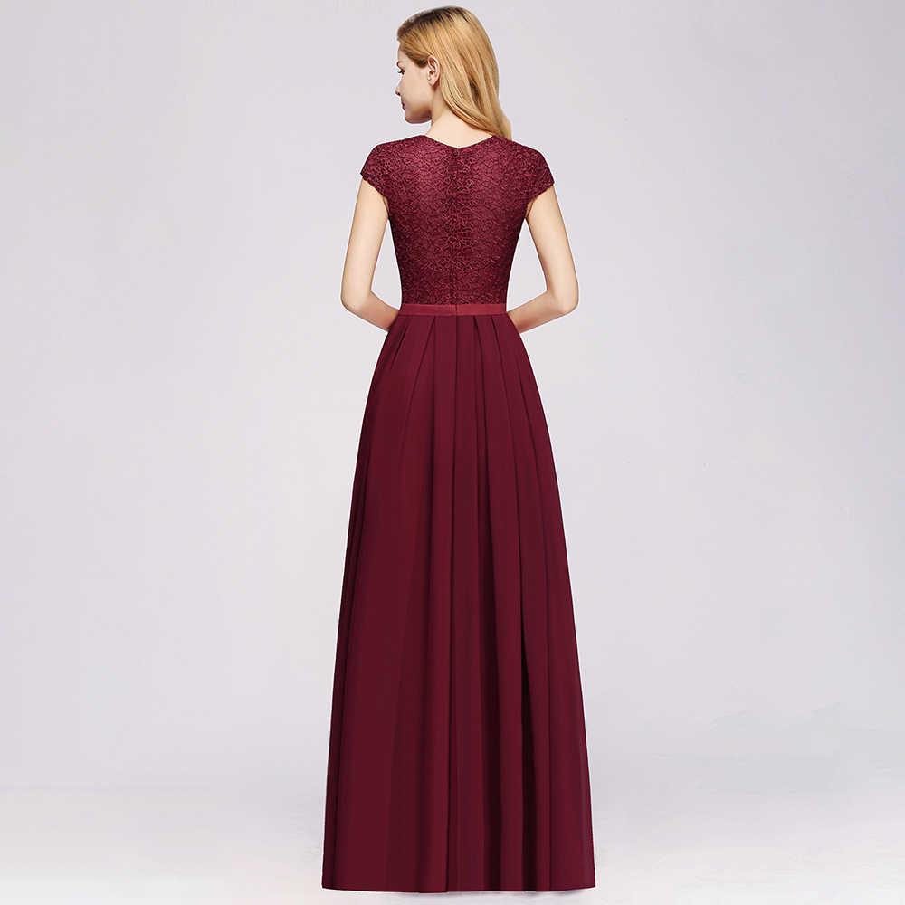 Elegan Renda Sifon Panjang Gaun Pengiring Pengantin 2020 Menawan Lengan Pendek Gaun Tamu Pernikahan Gaun Merah Marun Gamis Demoiselle D'honneur