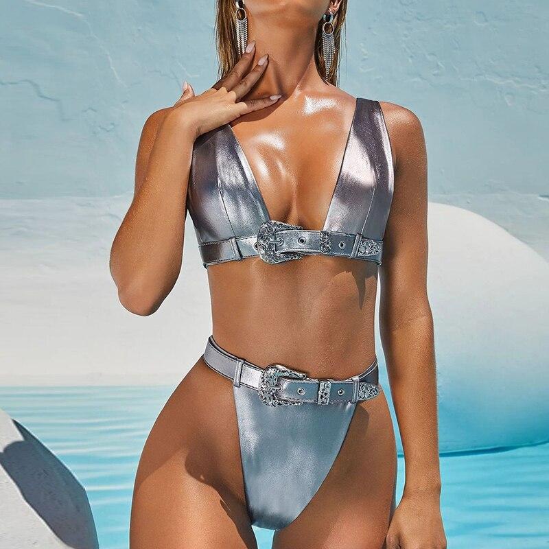 Sexy v neck bikini 2019 Push up Brazilian swimsuit female bandage triangle swimwear women High waist bathing suit biquini new 1