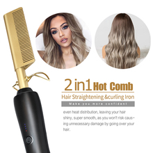 riwa electric hair comb smart thermostat lcd multifunction curling irons straight hair ptc heating do not hurt the hair 100 240v Multifunction Hot Comb Electric Straight Hair Brush Styling Gold Irons Hair Straightener Quick Heating Curling Iron