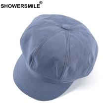 SHOWERSMILE Womens Newsboy Hats Summer Blue Painter Hat Cotton Female Octagonal Flat Cap Casual Retro Ladies Ivy Cabbie Cap 2021