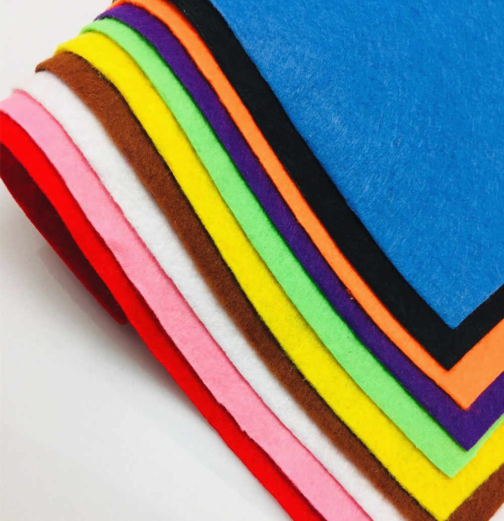 10pcs/set Non-Woven Felt Fabric Polyester Fabric Kids DIY Craft 1mm Thick Mixed Color Home Decoration 30X20cm AA8501-1